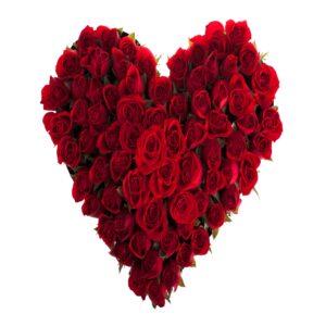Hjerteformet rosenbuket