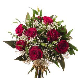 Røde roser med unikt grønt