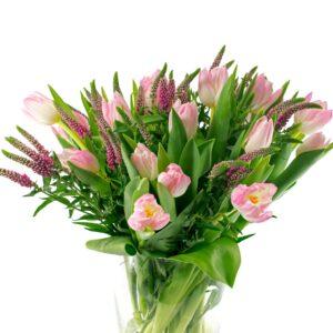 Tulipaner i lyserøde nuancer