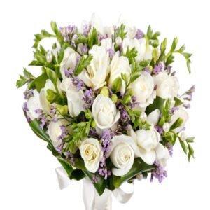 Rosenbuket med lilla nuancer