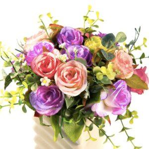 Multifarvet rosenbuket
